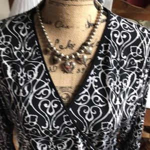 Tahari Tops - Black and White soft jersey blouse by Tahar!